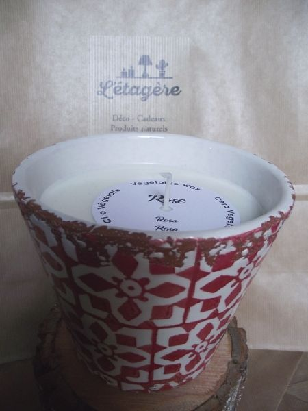 BOUGIE POT CERAMIQUE 14X12,5 CM ROSE
