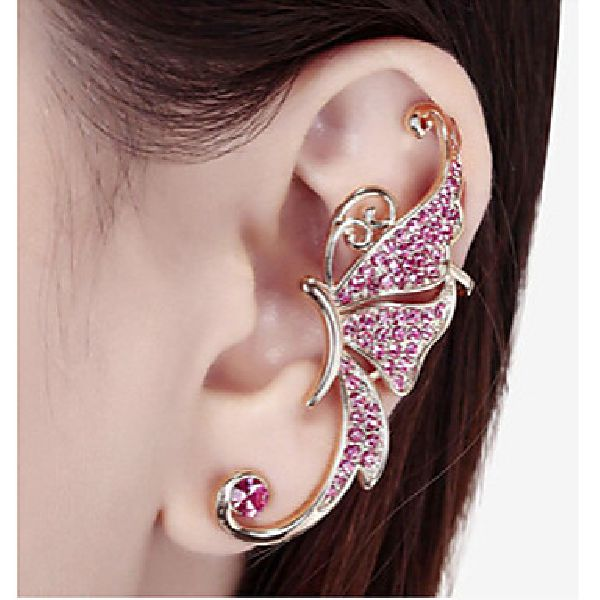 Tour d'oreille papillon strass rose